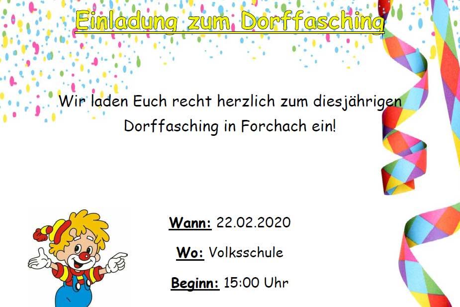 Einladung zum Dorffasching, 22.02.2010 15 Uhr Volksschule