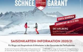 Saisonkarten-Information 2020/21 Ski Arlberg